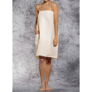 Woman's Waffle Spa Wrap - Bath Wrap | Color: Beige | Material: 65% Natural Cotton 35% Polyester | Available Sizes: SmallMedium Large XXL (BW7083BEIG)
