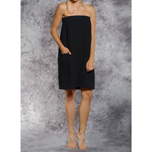 Woman's Waffle Spa Wrap - Bath Wrap | Color: Black | Material: 65% Natural Cotton 35% Polyester | Available Sizes: SmallMedium Large XXL (BW7083BLK)