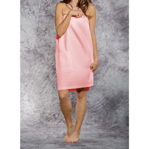 Woman's Waffle Spa Wrap - Bath Wrap | Color: Blush Pink | Material: 65% Natural Cotton 35% Polyester | Available Sizes: SmallMedium Large XXL (BW7083BLSH)
