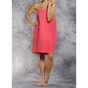 Woman's Waffle Spa Wrap - Bath Wrap | Color: Coral | Material: 65% Natural Cotton 35% Polyester | Available Sizes: SmallMedium Large XXL (BW7083COR)