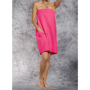 Woman's Waffle Spa Wrap - Bath Wrap | Color: Fuchsia | Material: 65% Natural Cotton 35% Polyester | Available Sizes: SmallMedium Large XXL (BW7083FUS)