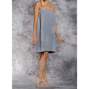 Woman's Waffle Spa Wrap - Bath Wrap | Color: Gray | Material: 65% Natural Cotton 35% Polyester | Available Sizes: SmallMedium Large XXL (BW7083GRY)