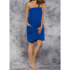 Woman's Waffle Spa Wrap - Bath Wrap | Color: Lapis Blue | Material: 65% Natural Cotton 35% Polyester | Available Sizes: SmallMedium Large XXL (BW7083LPBL)