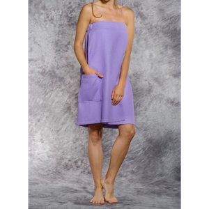 Woman's Waffle Spa Wrap - Bath Wrap | Color: Lavender | Material: 65% Natural Cotton 35% Polyester | Available Sizes: SmallMedium Large XXL (BW7083LAV)