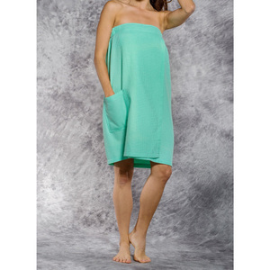 Woman's Waffle Spa Wrap - Bath Wrap | Color: Mint Green | Material: 65% Natural Cotton 35% Polyester | Available Sizes: SmallMedium Large XXL (BW7083MNT)