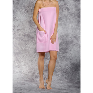Woman's Waffle Spa Wrap - Bath Wrap | Color: Pink | Material: 65% Natural Cotton 35% Polyester | Available Sizes: SmallMedium Large XXL (BW7083PNK)