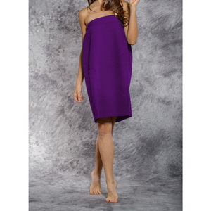 Woman's Waffle Spa Wrap - Bath Wrap | Color: Purple | Material: 65% Natural Cotton 35% Polyester | Available Sizes: SmallMedium Large XXL (BW7083PUR)