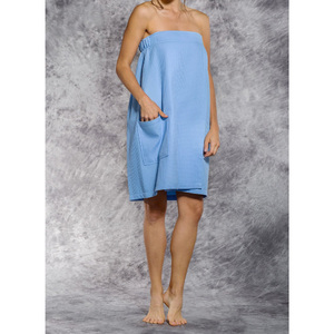 Woman's Waffle Spa Wrap - Bath Wrap | Color: Serenity Blue | Material: 65% Natural Cotton 35% Polyester | Available Sizes: SmallMedium Large XXL (BW7083SBLUE)
