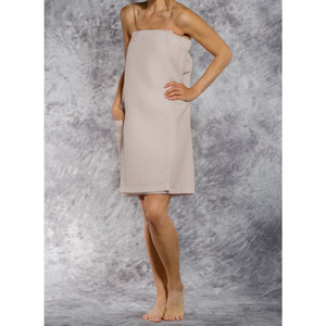 Woman's Waffle Spa Wrap - Bath Wrap | Color: Taupe | Material: 65% Natural Cotton 35% Polyester | Available Sizes: SmallMedium Large XXL (BW7083TAU)