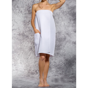 Woman's Waffle Spa Wrap - Bath Wrap | Color: White | Material: 65% Natural Cotton 35% Polyester | Available Sizes: SmallMedium Large XXL (BW7083WHT)