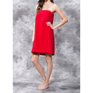Woman's Terry Velour Cloth Spa Wrap - Bath Towel Wrap | Color: Red | Material: 100% Cotton | Available Sizes: One Size Fits Most (BW5080RED)
