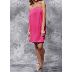 Woman's Terry Velour Cloth Spa Wrap - Bath Towel Wrap | Color: Fuchsia | Material: 100% Cotton | Available Sizes: One Size Fits Most (BW5080FUS)