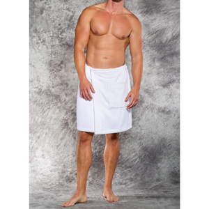 Men's Terry Velour Cloth Body Wrap - Bath Towel Wrap | Color: White | Material: 100% Cotton | Available Sizes: One Size Fits Most XXL (W5080WHT)