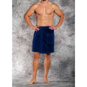 Men's Terry Velour Cloth Body Wrap - Bath Towel Wrap | Color: Navy Blue | Material: 100% Cotton | Available Sizes: One Size Fits Most (W5080NAVY)