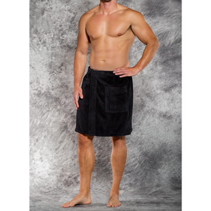 Men's Terry Velour Cloth Body Wrap - Bath Towel Wrap | Color: Black | Material: 100% Cotton | Available Sizes: One Size Fits Most (W5080BLK)