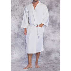 Unisex Premium 100% Turkish Cotton Terry Kimono Bathrobe | Color: White | Material: 100% Cotton | Available Sizes: One Size Fits Most (4520WHT)
