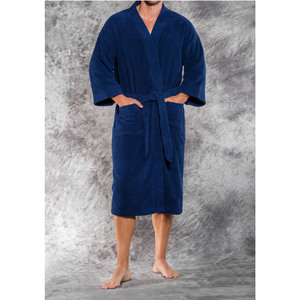 Unisex Premium 100% Turkish Cotton Terry Kimono Bathrobe | Color: Navy | Material: 100% Cotton | Available Sizes: One Size Fits Most (4520NAVY)
