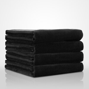 "100% Turkish Cotton Terry Velour Pool | Beach Towel | Color: Black | Material: 100% Turkish Cotton | Size: 35"" x 60"" (TT4003-BLK)"