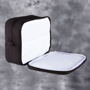 "Large Waffle Makeup Bag | Color: Black | Material: 65% Natural Cotton 35% Polyester | Size: 9.75""W x 3.25""D x 6.5""H (MB750BLK-L)"