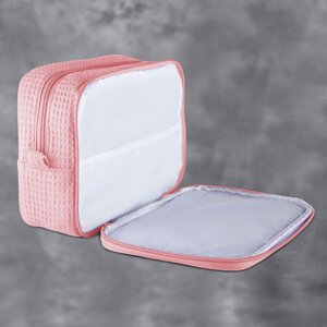 "Large Waffle Makeup Bag | Color: Blush | Material: 65% Natural Cotton 35% Polyester | Size: 9.75""W x 3.25""D x 6.5""H (MB750BLSH-L)"