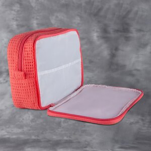 "Large Waffle Makeup Bag | Color: Coral | Material: 65% Natural Cotton 35% Polyester | Size: 9.75""W x 3.25""D x 6.5""H (MB750COR-L)"