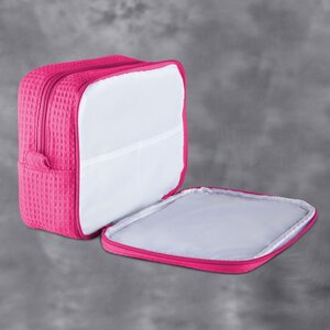 "Large Waffle Makeup Bag | Color: Fuchsia | Material: 65% Natural Cotton 35% Polyester | Size: 9.75""W x 3.25""D x 6.5""H (MB750FUS-L)"