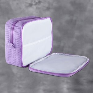 "Large Waffle Makeup Bag | Color: Lavender | Material: 65% Natural Cotton 35% Polyester | Size: 9.75""W x 3.25""D x 6.5""H (MB750LAV-L)"