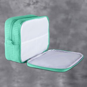 "Large Waffle Makeup Bag | Color: Mint Green | Material: 65% Natural Cotton 35% Polyester | Size: 9.75""W x 3.25""D x 6.5""H (MB750MNT-L)"