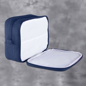 "Large Waffle Makeup Bag | Color: Navy Blue | Material: 65% Natural Cotton 35% Polyester | Size: 9.75""W x 3.25""D x 6.5""H (MB750NAVY-L)"