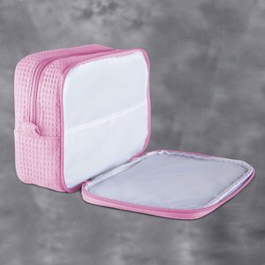 "Large Waffle Makeup Bag | Color: Pink | Material: 65% Natural Cotton 35% Polyester | Size: 9.75""W x 3.25""D x 6.5""H (MB750PNK-L)"