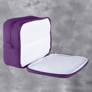 "Large Waffle Makeup Bag | Color: Purple | Material: 65% Natural Cotton 35% Polyester | Size: 9.75""W x 3.25""D x 6.5""H (MB750PUR-L)"