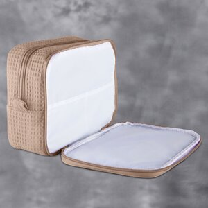 "Large Waffle Makeup Bag | Color: Taupe | Material: 65% Natural Cotton 35% Polyester | Size: 9.75""W x 3.25""D x 6.5""H (MB750TAU-L)"