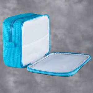 "Large Waffle Makeup Bag | Color: Turquoise | Material: 65% Natural Cotton 35% Polyester | Size: 9.75""W x 3.25""D x 6.5""H (MB750TUR-L)"