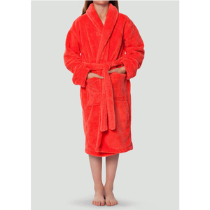 Plush Super Soft Fleece Shawl Kid's Robe | Color: Coral | Material: 100% Polyester Fleece | Available Sizes: Small Medium Large X-Large (2100COR)