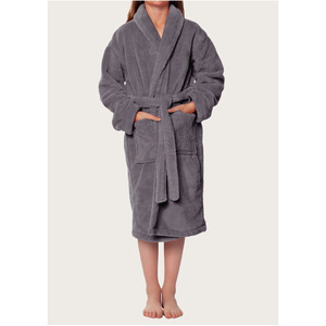 Plush Super Soft Fleece Shawl Kid's Robe | Color: Gray | Material: 100% Polyester Fleece | Available Sizes: Small Medium Large X-Large (2100GRY)