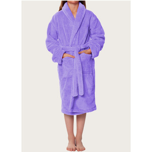Plush Super Soft Fleece Shawl Kid's Robe | Color: Lavender | Material: 100% Polyester Fleece | Available Sizes: Small Medium Large X-Large (2100LAV)