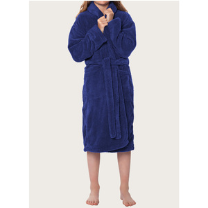 Plush Super Soft Fleece Shawl Kid's Robe | Color: Navy Blue | Material: 100% Polyester Fleece | Available Sizes: Small Medium Large X-Large (2100NVY)