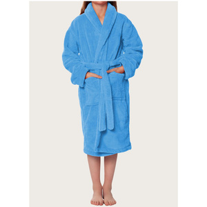 Plush Super Soft Fleece Shawl Kid's Robe | Color: Turquoise | Material: 100% Polyester Fleece | Available Sizes: Small Medium Large X-Large (2100TUR)