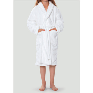 Plush Super Soft Fleece Shawl Kid's Robe | Color: White | Material: 100% Polyester Fleece | Available Sizes: Small Medium Large X-Large (2100WHT)