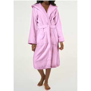 Unisex Heavy Weight Hooded Terry Bathrobe | Color: Pink | Material: 100% Turkish Cotton | Available Sizes: SmallMedium One Size Fits Most (4040PNK)