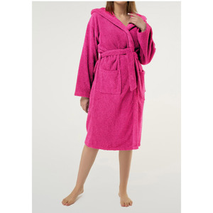 Unisex Heavy Weight Hooded Terry Bathrobe | Color: Fuschia | Material: 100% Turkish Cotton | Available Sizes: SmallMedium One Size Fits Most (4040FUS)