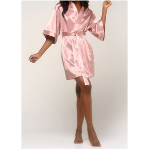Women's Satin Kimono Short Robe | Color: Rose Pink | Material: 95% Polyester 5% Spandex | Available Sizes: SmallMedium Large XX-Large (9060ROSE)