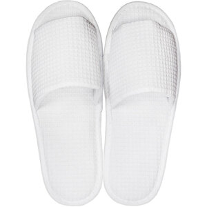 White Waffle Slippers - Open Toe | Unisex Adult | Individually Packaged | One Size (S121WHT)