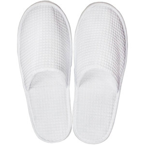White Waffle Slippers - Closed Toe | Unisex Adult | Individually Packaged | One Size (S122WHT)