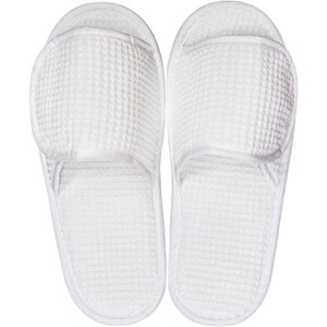 White Waffle Slippers - Velcro Adjustable | Unisex Adult | Individually Packaged | One Size (S123WHT)