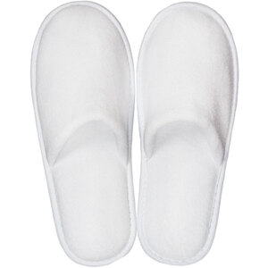 White Velour Slippers - Closed Toe | Unisex Adult | Individually Packaged | One Size (S112WHT-OS)