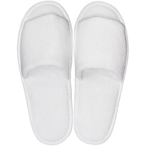 White Velour Slippers - Open Toe | Unisex Adult | Individually Packaged | One Size (S111-OS)