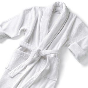 Classic Shawl Collar Robe - Velour 100% Cotton - 14 oz. White (SV1252C)