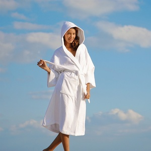 Hooded Robe - Velour - 100% Cotton - 14 oz. White (HV1248C)