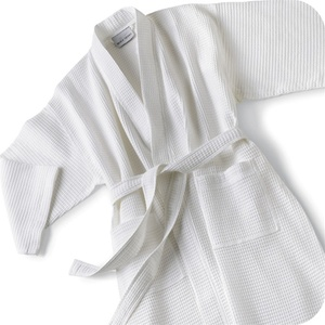 Kimono Waffle Robe - Basic Waffle - 67% Cotton 33% Poly with Piping White (KW1146C-P (PIPING))
